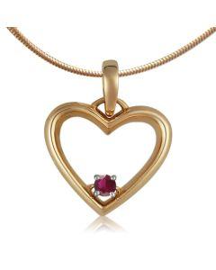 Золотой кулон сердце с рубином «Любовь в вашем сердце»