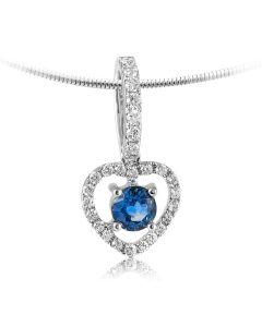 Подвес сердечком с бриллиантами и сапфиром «Heart of queen»
