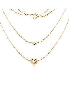 Довойное колье с сердечком и бриллиантами «Cameron»