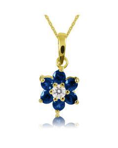 Кулон в виде цветка с бриллиантом и сапфирами