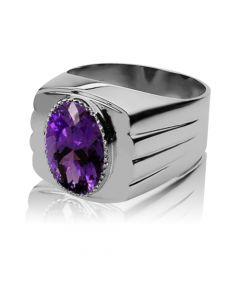 Золотой мужской перстень с аметистом «Иолай»