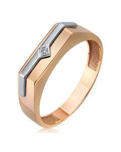 Золотой мужской перстень с небольшим бриллиантом «Лидер»