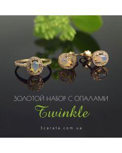 Золотой гарнитур с овальными опалами «Twinkle»