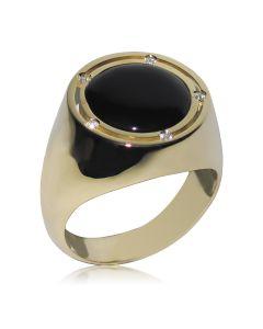 Золотий чоловічий перстень з оніксом «Гендальф»