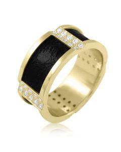 """Золотой перстень с  кожей и  камнями """"Король Артур"""""""