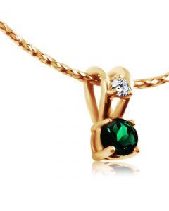 Золотая подвеска с изумрудом и бриллиантом «Ягодка»
