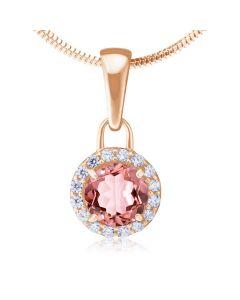 Золотой кулон с розовым морганитом «Алеся»