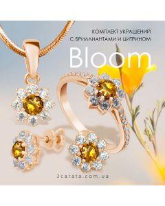 Золотой комплект с цитринами «Bloom»