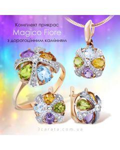 Золотой набор с цветными камнями «Magico Fiore»