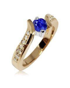 Кольцо на помолвку с сапфиром 0,4 Ct «Золотая волна»