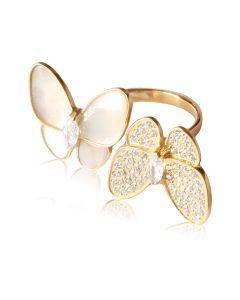 Золотое незамкнутое кольцо с циркониями «Перламутровые бабочки»