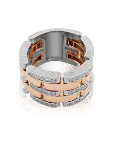 Золотое кольцо-цепь с бриллиантами «Fortis»