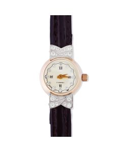 Золотые женские часы с кожаным ремешком «Леди»
