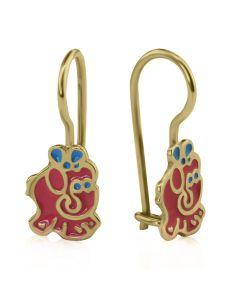 Детские сережки золотые с цветной эмалью «Слоники»