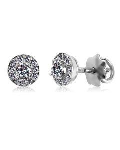 Золоті кульчики пусети з діамантами «Гіза»
