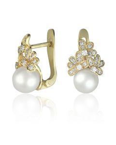 Серьги с жемчугом и камнями Сваровски «Марина»