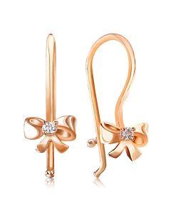 Золоті дитячі сережки з фіанітами «Бантики»