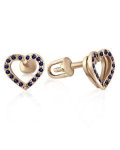Золотые серьги-пусеты сердечки с сапфирами «Валентинки»