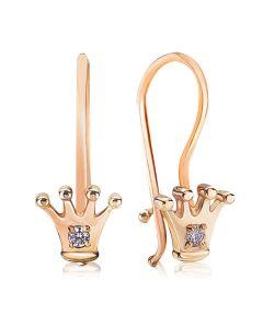 Золоті дитячі сережки - корона «Маленька принцеса»