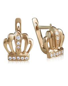 Золотые сережки «Корона для принцессы»