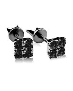 пусеты с черным бриллиантом
