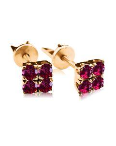 Золотые серьги гвоздики с рубинами «Сила Четырех»