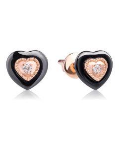 Золоті сережки пусети з ювелірної порцеляни з діамантами «Ніжне серце»