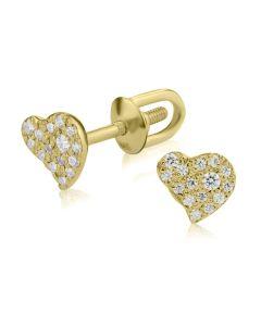 Маленькі сережки гвоздики з Сваровскі «Золоті сердечка»