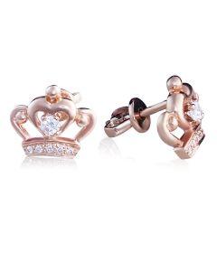 Серьги гвоздики золотые со сваровски «Корона»