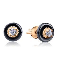 Золоті сережки пусети з ювелірної порцеляни «Jennie»