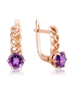 Золоті сережки з аметистами «Єсенія»