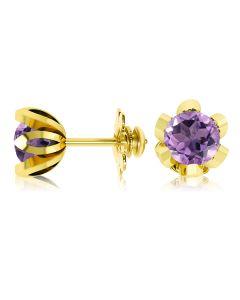 Сережки-квіточки з круглими аметистами «Тюльпан»
