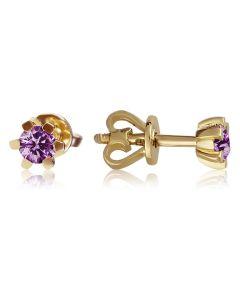 Класичні сережки гвоздики з аметистами «Рейчел»