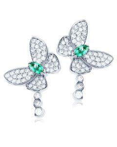 Сережки пусети з смарагдом «Райські метелики» в золоті