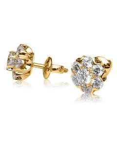 Золотые серьги пусеты с бриллиантами «Fortunata»