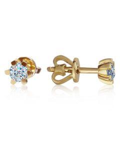 Класичні сережки гвоздики з діамантами «Рейчел»