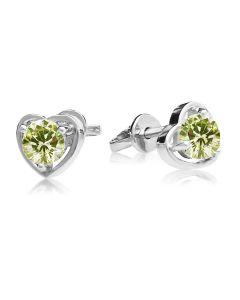 Золотые сережки гвоздики с хризолитом в виде сердец «Preferita»