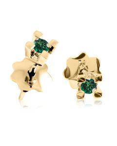 Золоті сережки гвоздики зі смарагдами «Дельфіна»