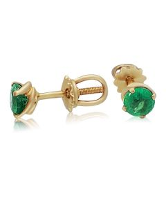 Золотые серьги пусеты с изумрудами «Mila»