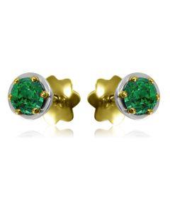 Золоті сережки пусети з смарагдами «Gold Brand»