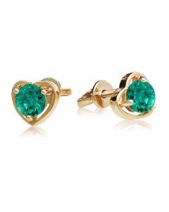 Золоті сережки-сердечка пусети з смарагдами «Preferita»