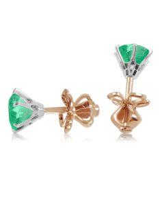 Сережки пусети з великими смарагдами «Століття любові»