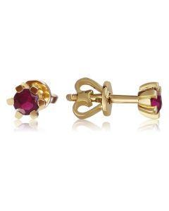 Серьги гвоздики золотые с рубином «Рейчел»