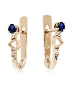 Сережки з золотим серцем і ніжним сапфіром «Вірність»