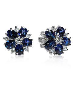 Серьги-гвоздики цветочки с бриллиантами и сапфирами «Angelina»