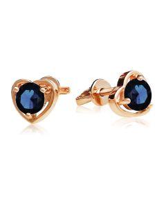 Золоті сережки-сердечка гвоздики з сапфіром «Preferita»