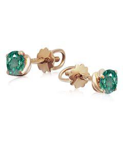 Золоті сережки пусети з зеленими топазами «Mila»