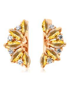 Золотые серьги с цитринами и кристаллами Сваровски «Кимберли»