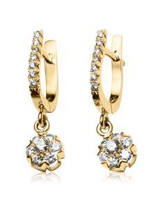 Золотые серьги-подвески с бриллиантами «Fortunata»
