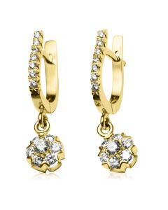 Золоті сережки-підвіски з діамантами «Fortunata»